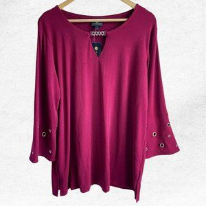 NWT JM Collection Maroon/Red Chain Crepe Blouse